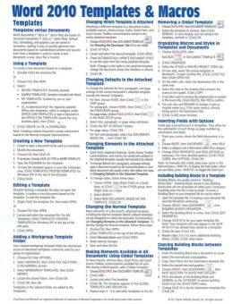 instruction sheet template word - microsoft word 2010 templates macros quick reference