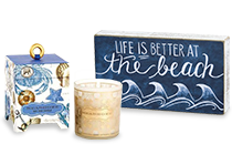 Seashore Soy Candle; Life Is Better At the Beach Blue Chalkboard Box Sign